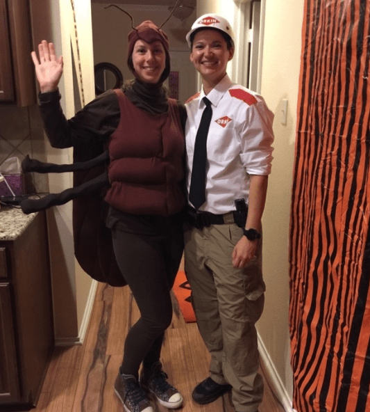 """""""So technically my mom made the roach costume about 10 years ago. I made the Orkin Man costume last year to go with it.""""—malloryf4"""