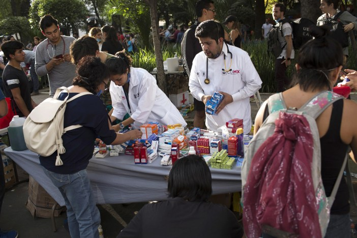 Medical personnel organize supplies in Mexico City.