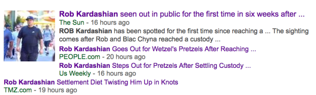 Yesterday, paparazzi photos emerged of Rob APPARENTLY getting Wetzel's Pretzels. It was a big deal, because it was the first time he'd been seen in public since settling his case with Blac Chyna over custody of their daughter, Dream.