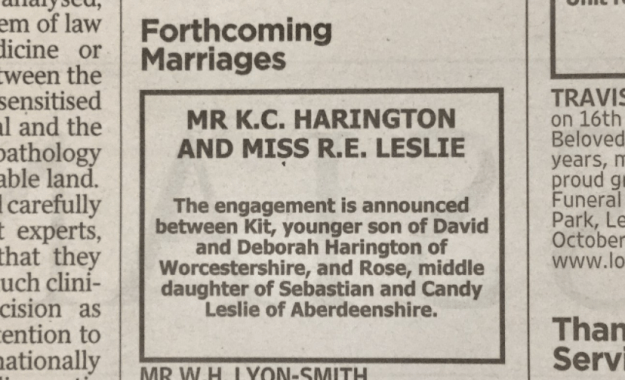 But everything just got cuter and even more perfectly British, because this morning their engagement was announced in the traditional way: in the newspaper.