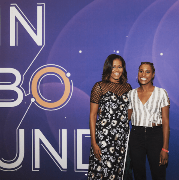 """At first, the 32-year-old California native gives off a semi-nervous smile that shows her inner self is screaming, """"Holy shit, I'm standing next to Michelle Obama!"""""""
