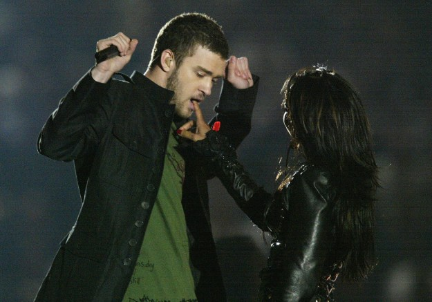 "In 2004, JT and Janet Jackson performed ""Rock Your Body"" together at the halftime show. Justin ripped off a piece of Janet's costume, exposing her breast, and the world went briefly insane."