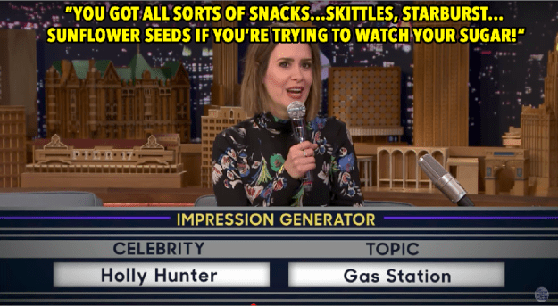 Then she casually slid right into Holly Hunter's trademark drawl to extoll the virtues of gas station snacks.