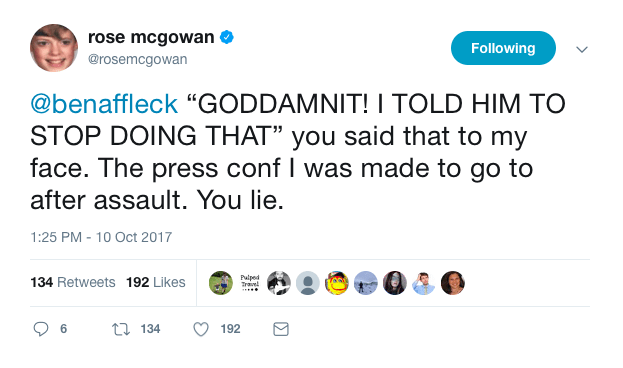 McGowan also insinuated that Affleck knew about Weinstein's behavior toward women.