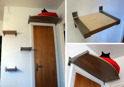 This lofted cat bed with climbing steps leading up to it.