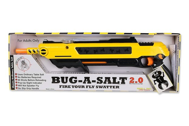 A salt gun, which allows you to kill bugs from across the room using only table salt.