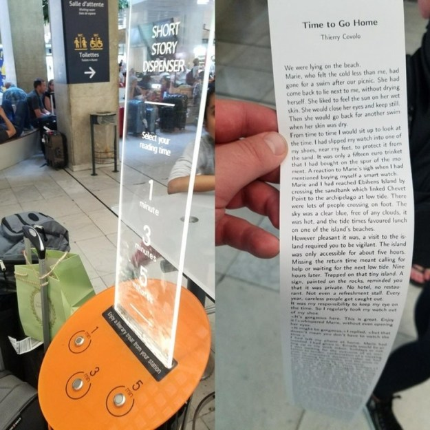 This airport offers free short stories to read that you can print on demand.