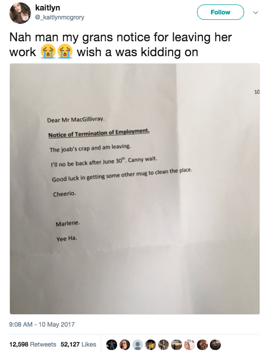 And this grandma, who quit her job with this note: