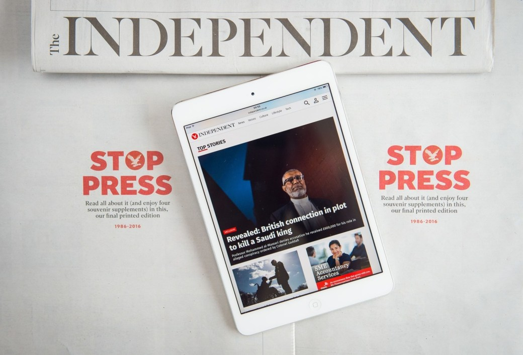 The Independent abandoned its print edition and went online-only last year.
