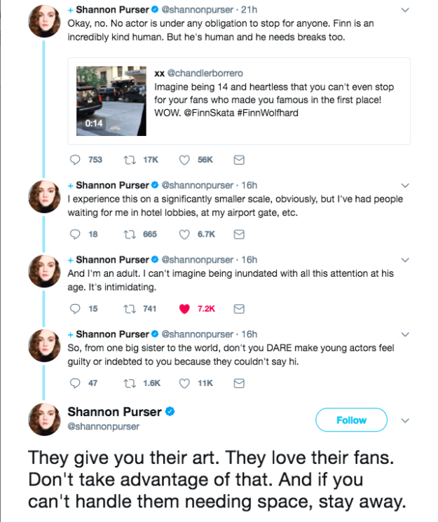 """In a powerful thread, she tweeted that """"no actor is under any obligation to stop for anyone,"""" and that it's not okay to """"make young actors feel guilty or indebted"""" when they don't say hello."""