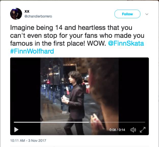 Well, earlier this week, fans spotted Finn coming and going from his hotel and, when he didn't go over to meet them, they called him heartless.