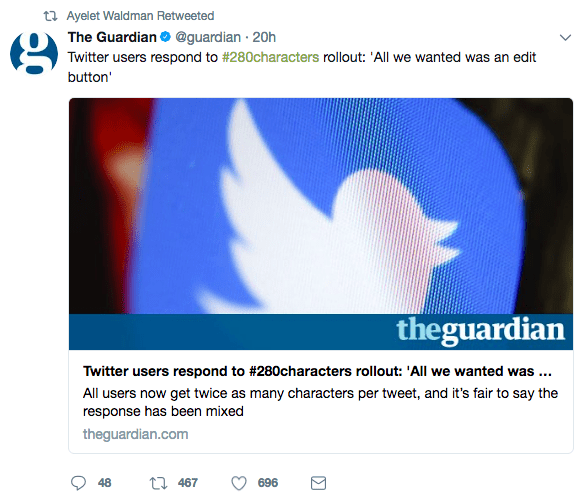Ayelet Waldman retweeted an article about how all Twitter users wanted was an edit button.