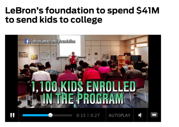 Not to mention, LeBron is one of the world's most charitable athletes. His foundation pledged $41 million to send every kid who finishes his program to college.