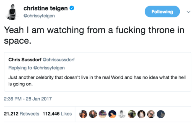 "When she clapped back at someone who said she doesn't ""live in the real world"":"