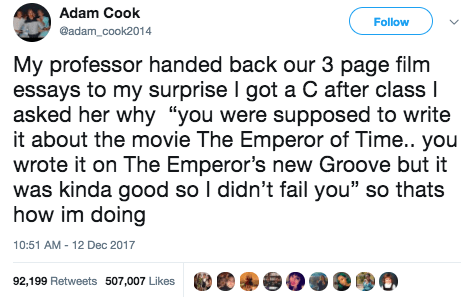 This guy, who wrote about The Emperor's New Groove instead of The Emperor of Time: