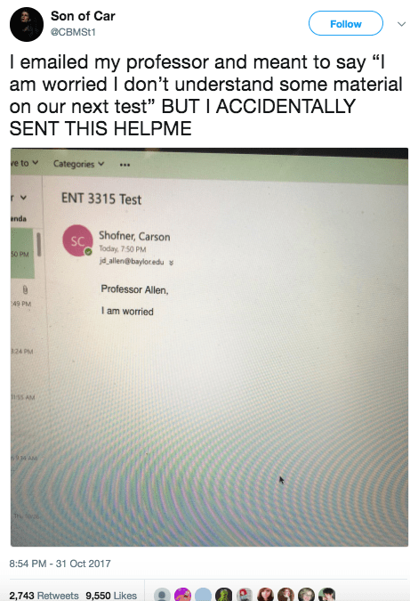 This guy, who accidentally emailed his professor something accurate AF: