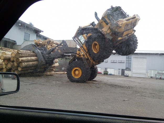 This log hauler who probably dropped a log himself when this happened to him: