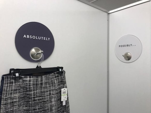 This dressing room offers an easy way to sort what you do, and don't, want to buy.