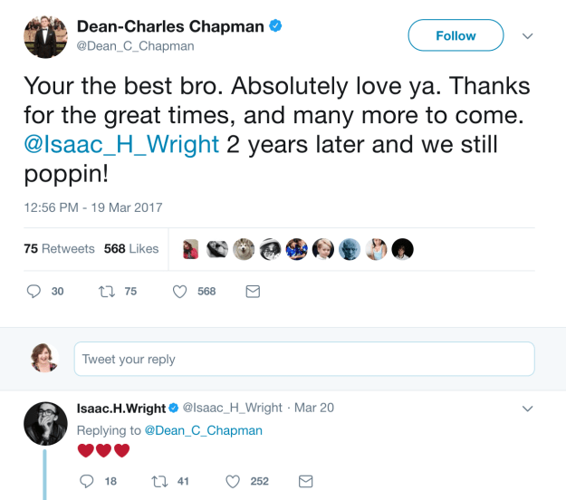When Issac and Dean-Charles Chapman (Tommen) shared the love on Twitter.