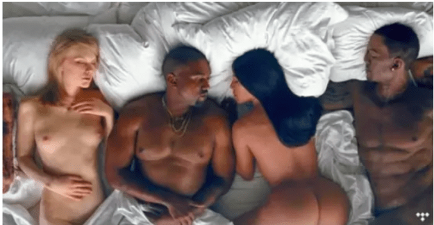 Further fuel was added to the fire when Kanye released the video to the song. In it, he lies in bed surrounded by naked waxworks of notable celebrities. To the right of him is Kim Kardashian and the left, Taylor Swift.