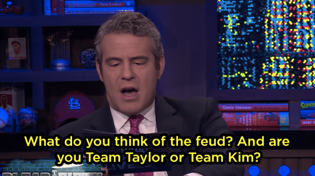 One of the questions Andy asked was about the infamous Taylor Swift-Kim Kardashian feud.