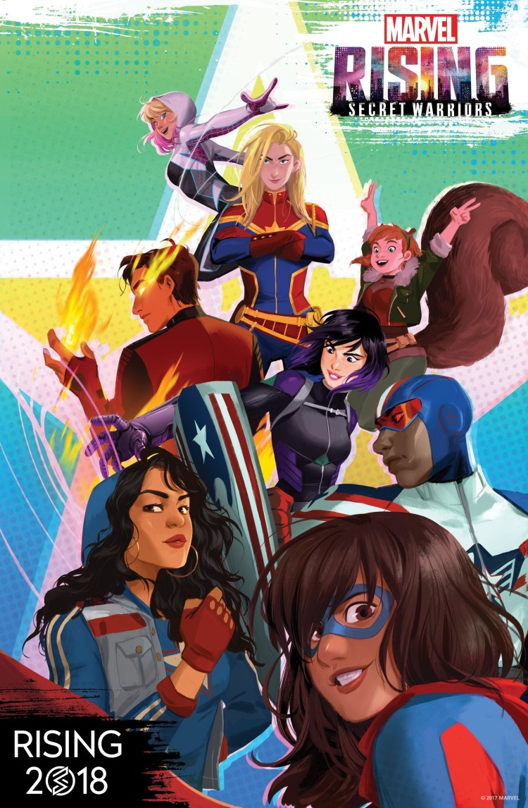 Marvel Rising: Secret Warriors is part of a new, multi-platform animated franchise starring the next generation of Marvel heroes set to launch in 2018. The program will launch with six, four-minute digital shorts (which will follow Spider-Gwen with her new secret moniker, Ghost-Spider). Marvel Rising: Secret Warriors will premiere later in 2018.