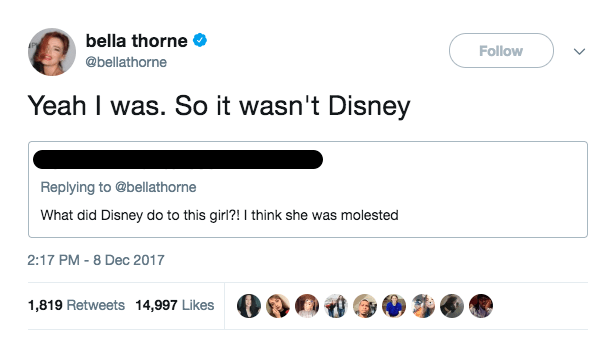 "Thorne then responded to the person, saying, ""Yeah I was."""