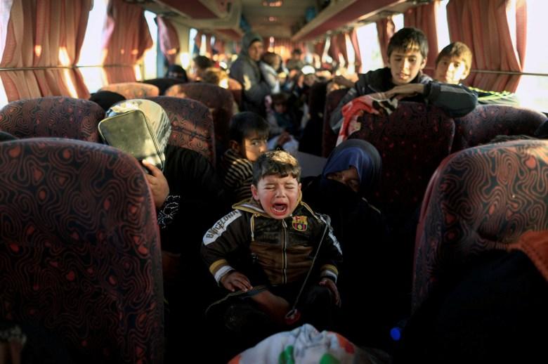 Iraqi people fleeing Mosul in February.