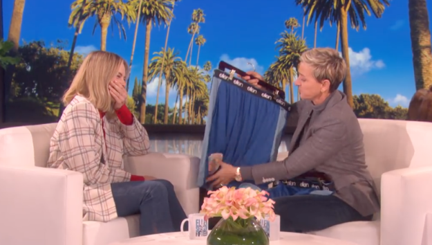 It seems like everyone is able to laugh about the situation now. And Ellen even gave the Golden Globe-nominated actress a parting gift to ensure that NEVER happens again.