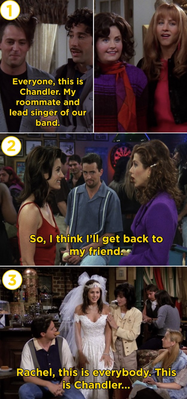 The fact that Rachel and Chandler were introduced to each other for the first time on three separate occasions.