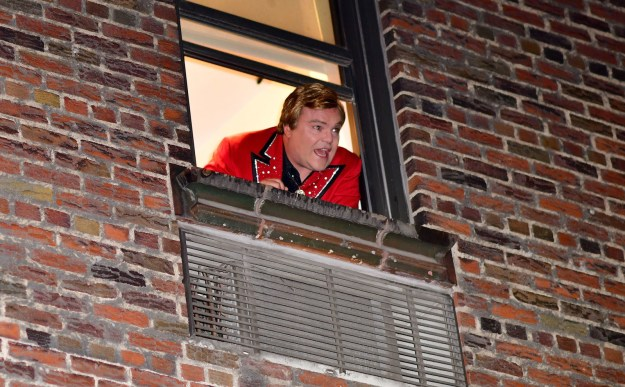 Jack Black shouted from the windows of the Ed Sullivan Theater in NYC.
