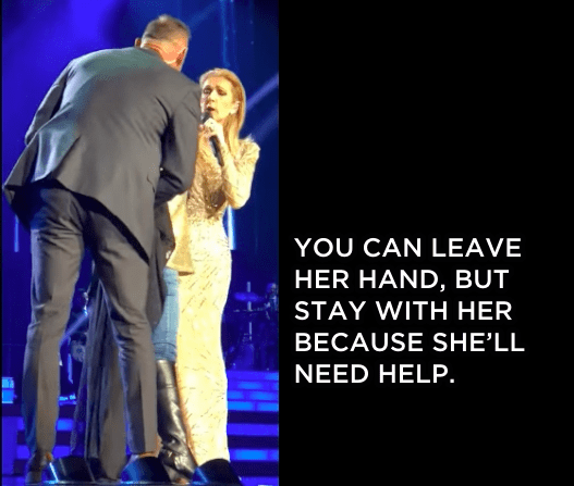 Security quickly rushed the stage to escort the woman absent, but the superstar asked them to hold back.