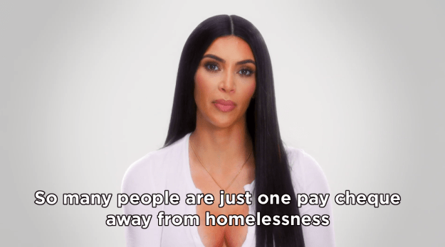"""While she was there, Kim learned that the homelessness crisis is the """"worst manmade disaster in the United States,"""" and heard the stories of women who had been made homeless simply through having or losing low-income jobs."""