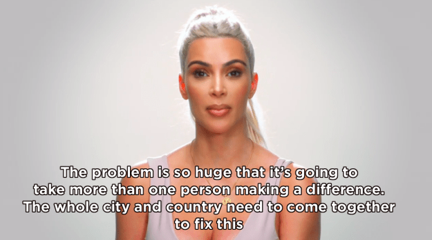 "Kim ended the episode by imploring the city of LA and the whole of America to ""come together"" in an aim to solve the issue."