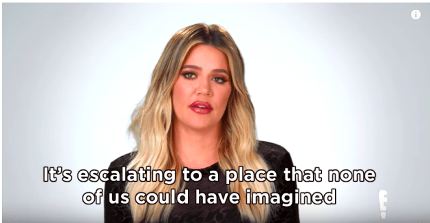 "During Khloé's testimonial, she revealed that the situation between Rob and Chyna had ""escalated"" beyond the family's comprehension."