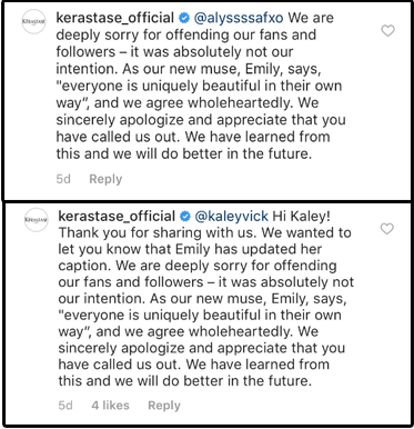 And Kérastase has issued apologies to commenters who voiced criticism on Instagram: