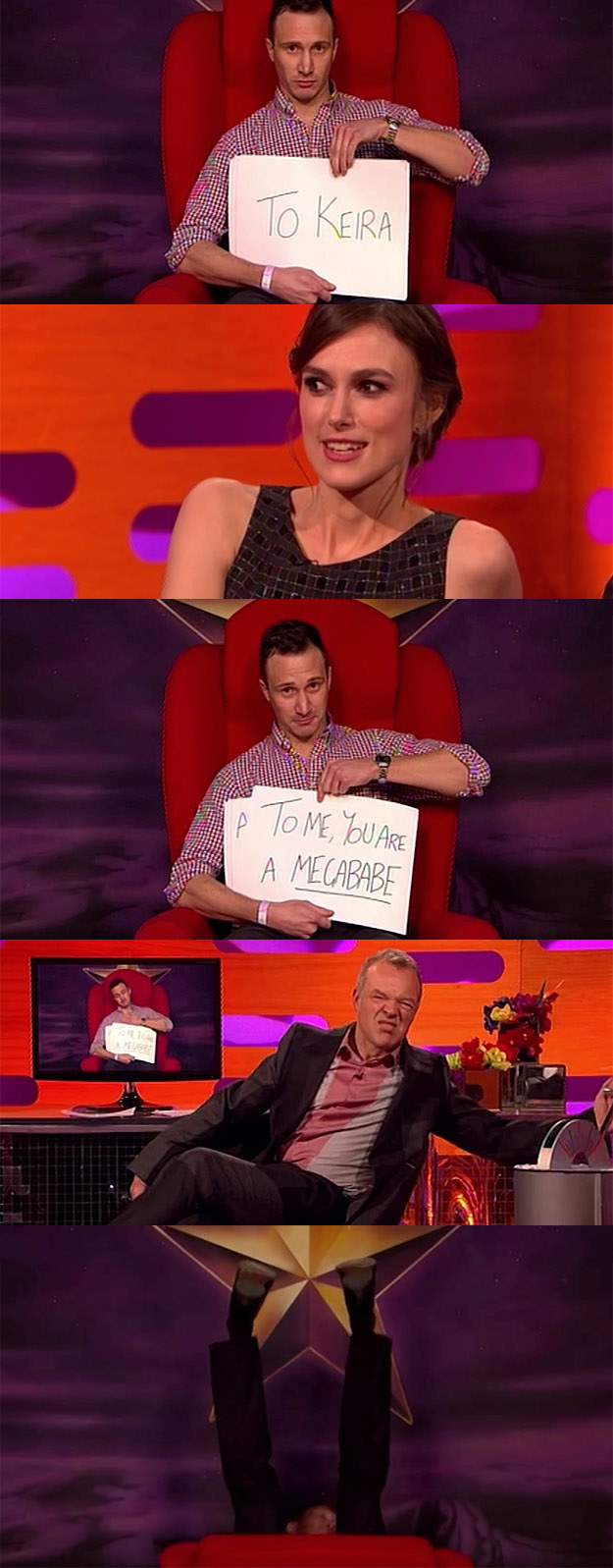 When a guest on the red chair decided to recreate the scene from Love Actually for Keira Knightley, who was a guest on that week's show.