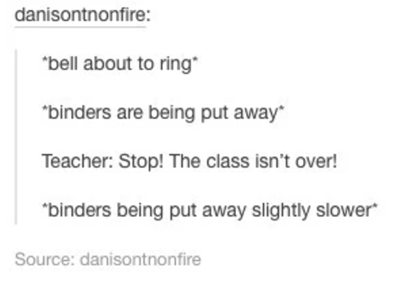 The end of class routine: