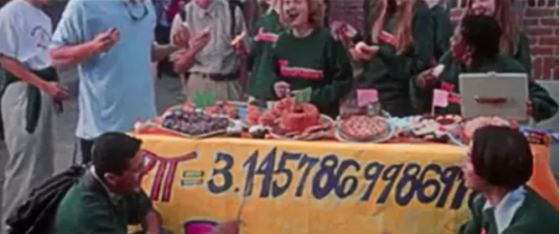 In Never Been Kissed, Josie and her friends make a giant poster with the number pi on it, but they label pi incorrectly. It's actually 3.14159.