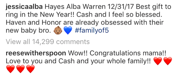 And Reese Witherspoon couldn't wait to pass on her congratulations.