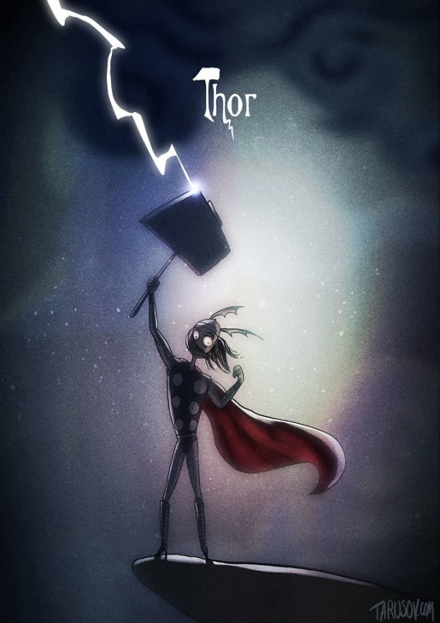 Previously, Tarusov did a Disney character series in Tim Burton's style.