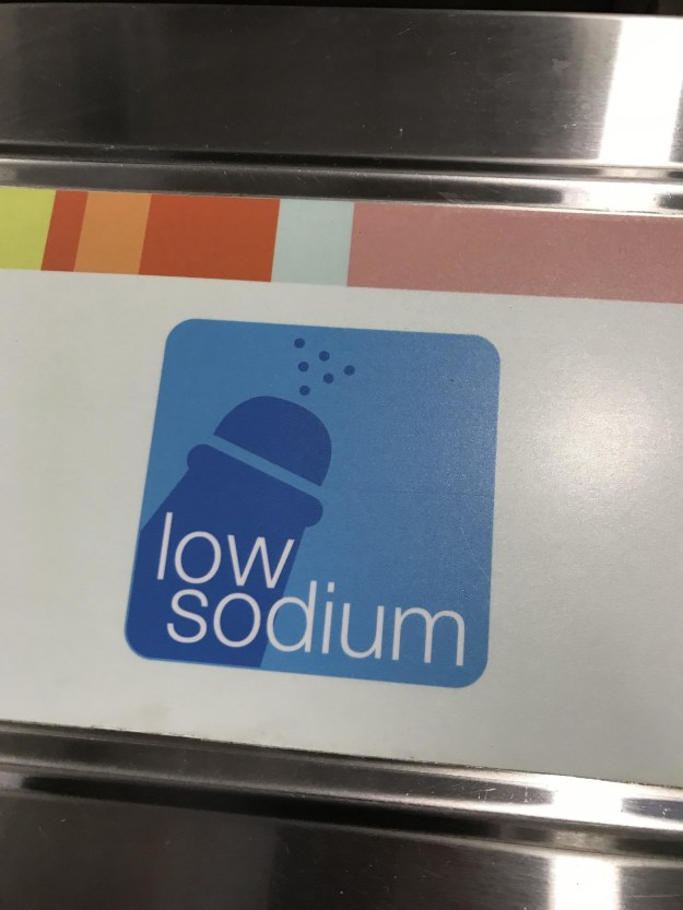 """I put a salt shaker on the low sodium logo."""