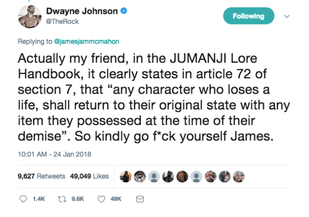 "But that didn't stop Dwayne ""The Rock"" Johnson from giving James a piece of his mind and throwing in an expletive of his own."