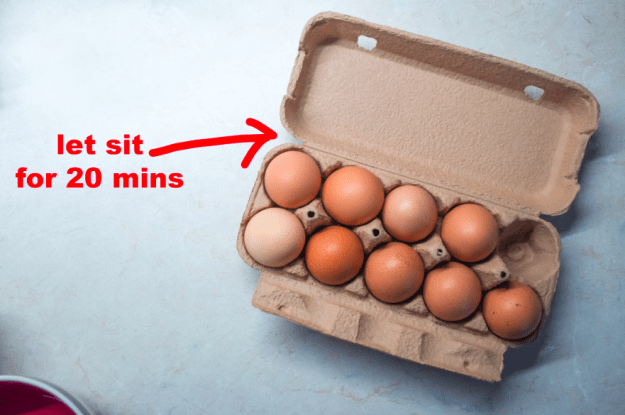 Let your eggs sit out at room temperature before boiling them to avoid cracked shells.