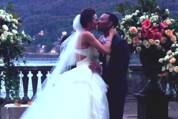 Chrissy was even in the video, which also included footage from their actual wedding.