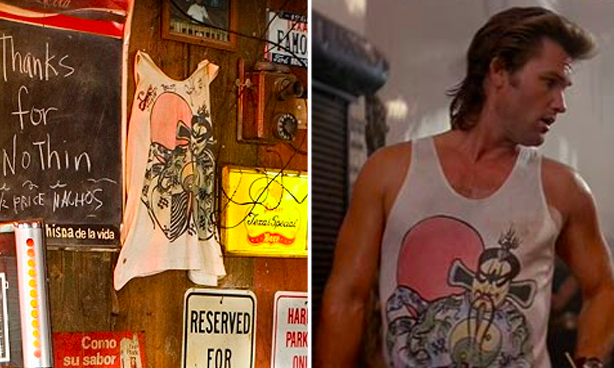Kurt Russell's shirt from Big Trouble in Little China is hanging on the bar's wall in Death Proof.