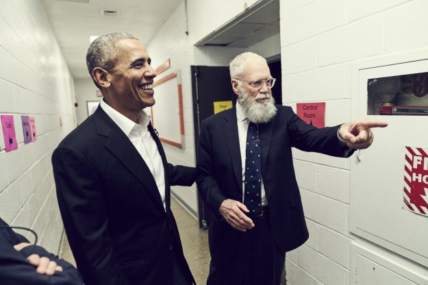 ...and former president Barack Obama, who will be Letterman's first guest on the Jan. 12 premiere. The interview will mark Obama's first television talk show appearance since leaving office in January 2017.