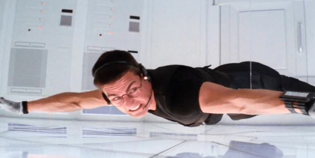 Tom Cruise never fires a gun in the first Mission: Impossible film.