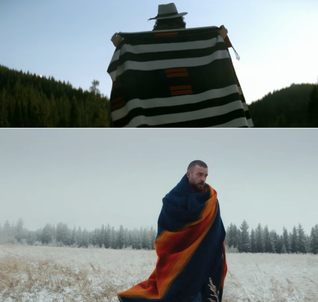 Mayer and Timberlake in their respective Pendleton blankets.