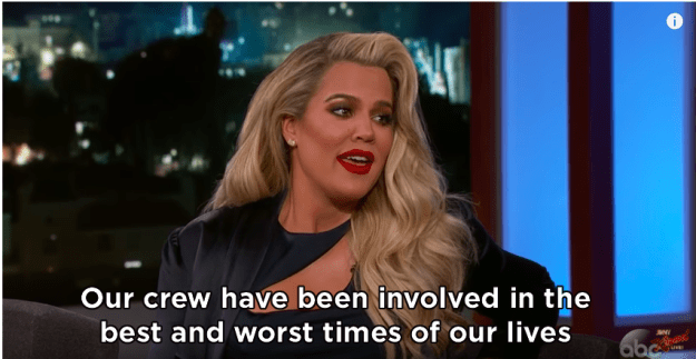 She went on to reveal that she actually told the Keeping Up With The Kardashians crew before her family, so they could capture the moment she announced the news.